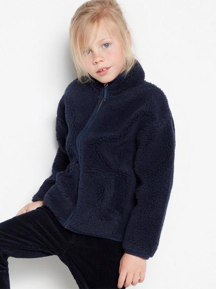 Marineblå genser med teddyfôr og glidelås Blå