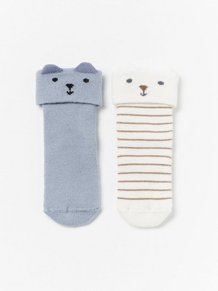 2-pack terry socks with ears Blue