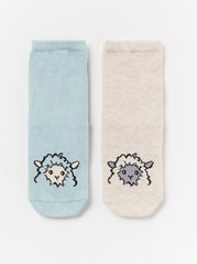 2-pakning med sokker med sauer Beige