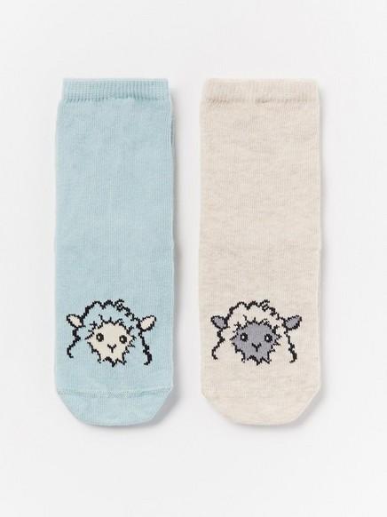 2 paria sukkia, joissa lampaita Beige