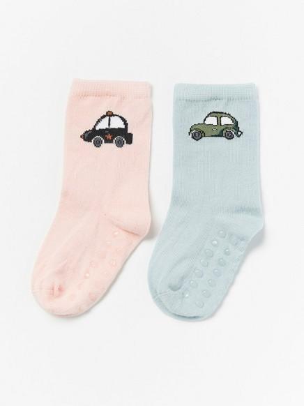2-pakning med sokker med biler Havblå