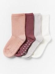 4-pakning med ribbestrikkede sokker Lilla