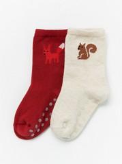 2 paria sukkia, joissa eläinkuviointi Punainen