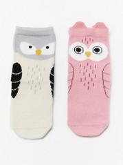 2-pakning med sokker med fuglemotiv Rosa