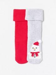 2-pakning med frottésokker med snømannmotiv Rød