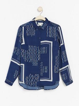 Skjorta med textprint Blå