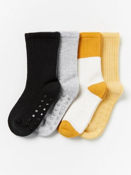 4-pakning med ribbestrikkede sokker Gul