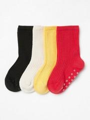 4-pakning med ribbestrikkede sokker Rød