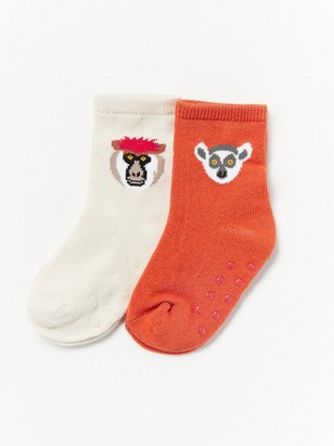 2-pack socks with animal motif Orange