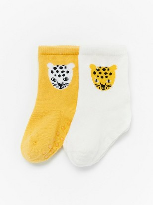 2-pack socks with leopards Yellow