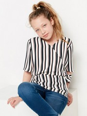 Striped blouse with tie detail Black