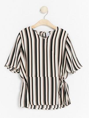 Svart Stripet bluse med knyting 199, | Lindex