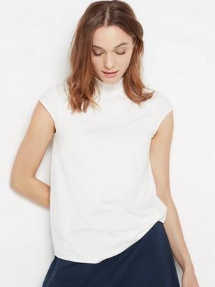 Matalakauluksinen pusero lyocell-sekoitetta Valkoinen