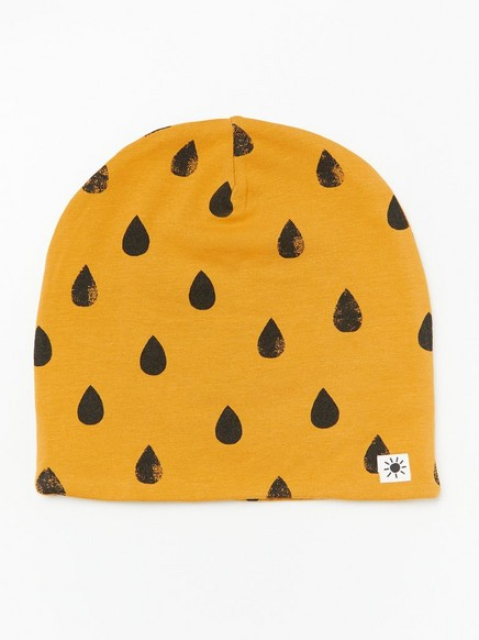 Patterned jersey cap with fleece lining Yellow