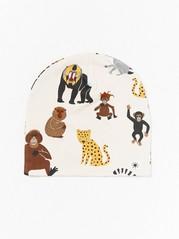 Trikåmössa med apor och leoparder Beige