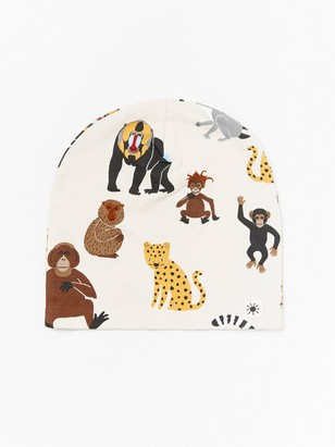 Jersey cap with monkeys and leopards Beige