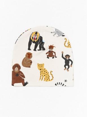 Trikoopipo, jossa apina- ja leopardikuvioita Beige