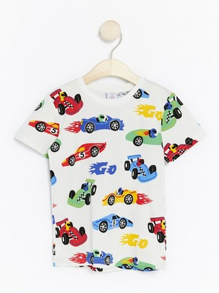 T-skjorte med fargerike biler Hvit