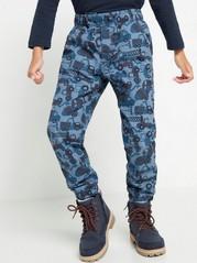 Volné vzorované kalhoty Modrá