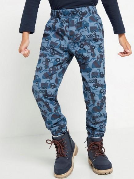 Väljät kuviolliset housut, joissa vuori Sininen