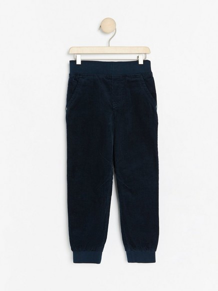 Loose fit corduroy trousers with lining Blue