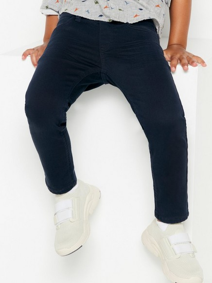 Regular fit pull-on twill trousers Blue