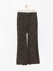 Mønstret bukse med høyt liv Svart