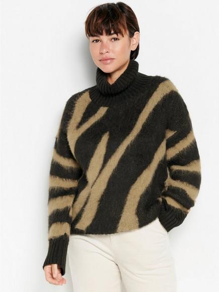 Mønstret strikkegenser med rullekrage Svart