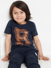 Slub jersey t-shirt with letter print Blue