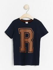 Slub jersey t-shirt with letter print Blue