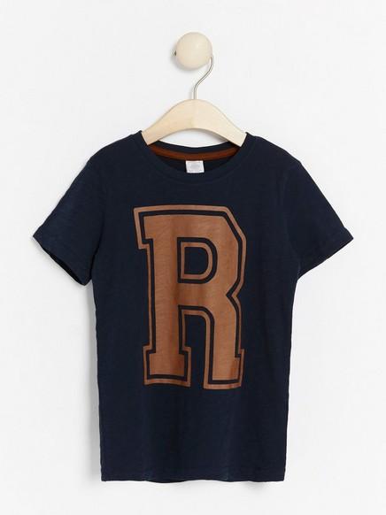 T-shirt i slubtrikå med tryck Blå