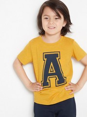 Slub jersey t-shirt with letter print Yellow