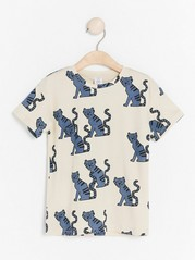 Oversized short sleeve t-shirt with pattern Blue