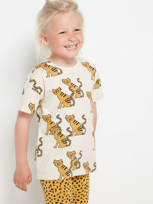 Oversized short sleeve t-shirt with pattern Beige