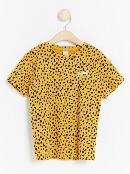 Oversize kortärmad t-shirt med mönster Gul
