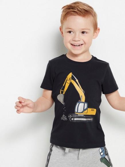 Musta t-paita, jossa kaivinkonepainatus Musta