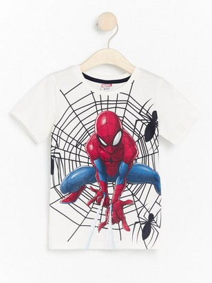 White t-shirt with Spider-Man print White