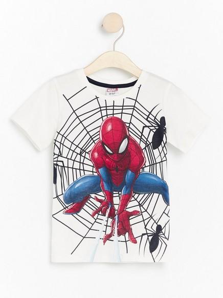 Valkoinen t-paita, jossa Spider-Man-painatus Valkoinen