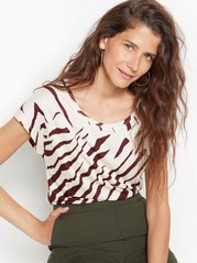 Zebra patterned top in lyocell blend  Beige