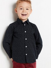 Mønstret, langermet skjorte i bomull Blå