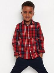 Mønstret, langermet skjorte i bomull Rød
