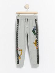 Grey sweatpants with vehicle print Grey
