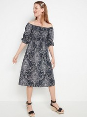 Patterned viscose dress with smock  Blue