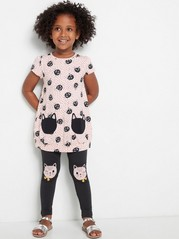 Tunic with Dots and Cats Pink