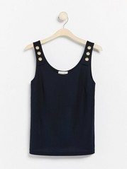 Sleeveless top with gold coloured buttons  Blue
