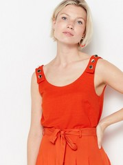 Sleeveless top with gold coloured buttons  Orange