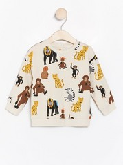 Sweatshirt with monkeys and leopards Beige