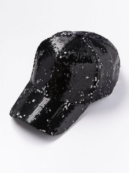 Black sequin cap Black