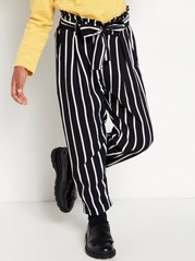 Striped viscose trousers with paperbag waist Black