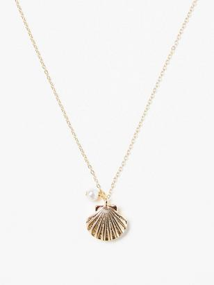 Necklace with Gold Coloured Seashell Pendant Yellow